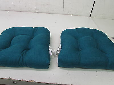 Pillow Perfect Indoor/Outdoor Rave Teal Wicker Seat Cushion, Set of 2 (550176)