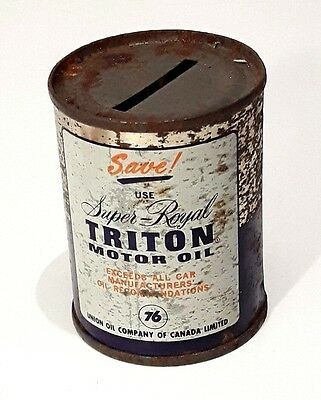 Vintage Triton Motor Oil Can Penny Bank Advertising Collectible