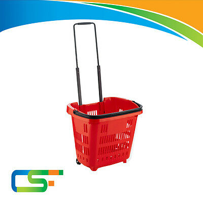 Plastic Shopping Trolley Basket Supermarket Retail Store Shop (34L) Red