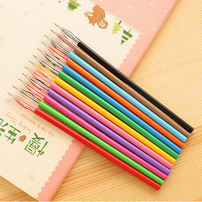 Lots 12pc Novelty Colorful Gel 0.38mm Ink Pen Refills Stationery School Supplies