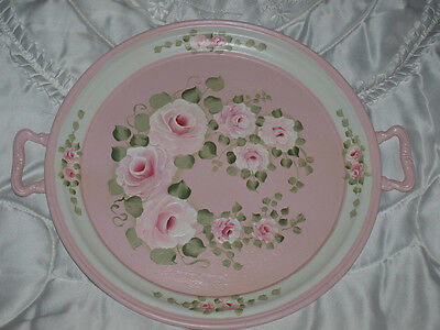 Superbe Plat De Decoration Shabby Chic Rose En Metal Relooke
