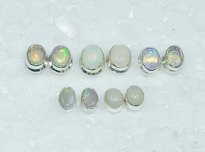 Wholesale 5Pair 925Solid Sterling Silver Natural Ethiopian Opal Stud Earring Lot