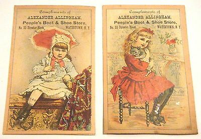 2 Alexander Allingham Boot & Shoe Store Watertown NY Trade Cards
