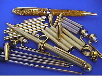 Woodturning Pen Kits x 5 - European,choice of colours OR Bushes OR Designer Bush