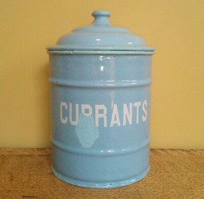 vintage blue enamel ware 1930s canister tin storage jar currants shabby chic