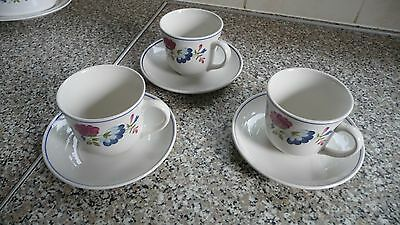BHS PRIORY cups & saucers  x 3 British Home Stores