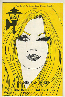 """Mamie Van Doren Playbill 1974 """"In One Bed and Out the Other"""" Fort Lauderdale, FL"""