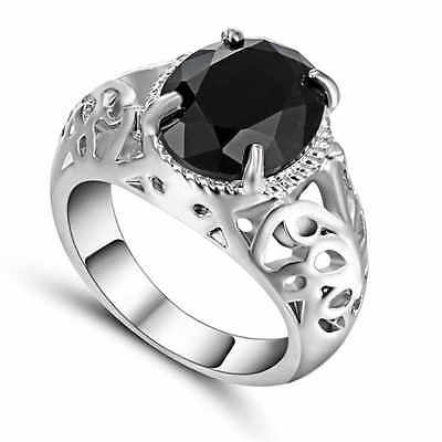 and Size 9 Black Sapphire white 10k Gold Filled Men's Women's Engagement Ring