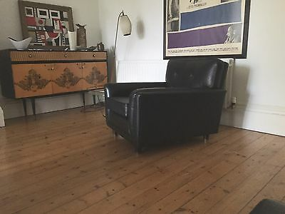 Danish vintage leather chair 1960s Heals retro italian 1950s robin day era
