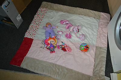 baby nursery cot bed duvet or play mat+toys bundle,doll,ball