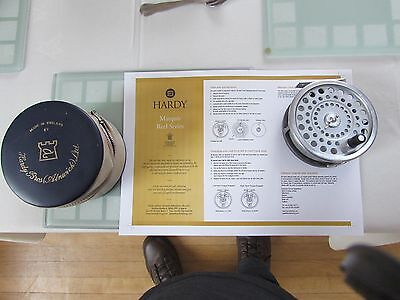 """V good vintage hardy marquis no. 1 salmon fly fishing reel 3 + 7/8ths"""" + case"""