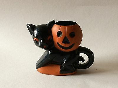 Rosbro Halloween Black Cat & Pumpkin Jack O Lantern Plastic Candy Holder Toy VTG