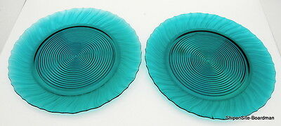 "Jeanette Glass Co. Ultramarine Swirl Pattern 2 Large 13"" Platters"