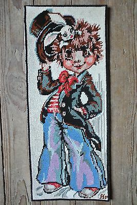 Vtg Royal Paris Needlepoint Magician Big Eyes Boy Canvas Steiner Freres Signed