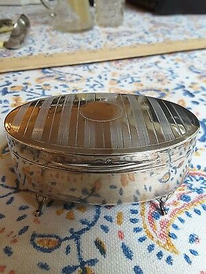 Antique english sterling silver footed jewelry box