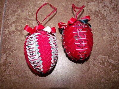 2 Hand Made Christmas Plaid Quilted Egg Ornaments