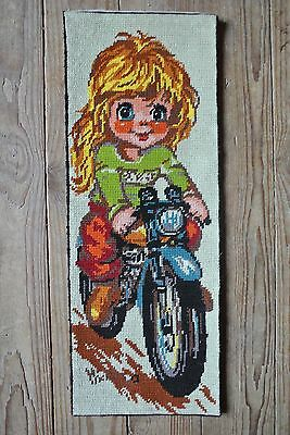 Vtg Margot Creations Needlepoint Big Eyes Motorcycle Girl Canvas Signed