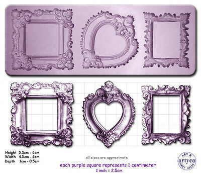 FRAMES ORNATE x 3 Craft Sugarcraft Fimo Chocolate Silicone Rubber Mould Mold
