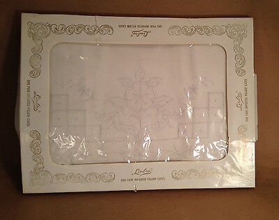 Vintage Pillowcases Embroidered Drawn Work Linbro Never Used Original Box