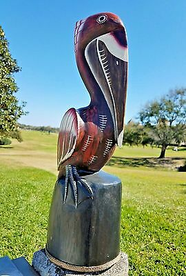 "Custom Handcarved Wood 20"" Pelican Statue With Commercial All Weather Coating"