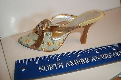 Small Miniature Ladies Shoe Slipper High Heel  Ornament flowers Goldtone Ribbon