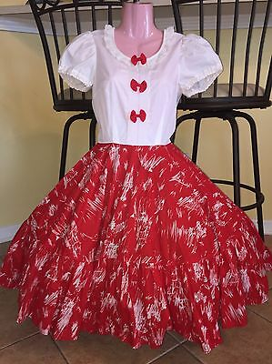 Square Dance 1 Pc Red & White Dress - Small