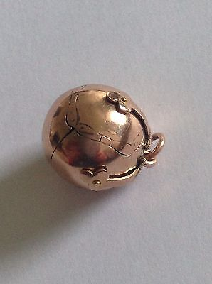 Wonderful Genuine Antique 9ct Rose Gold & Silver Hinged Masonic Orb / Ball