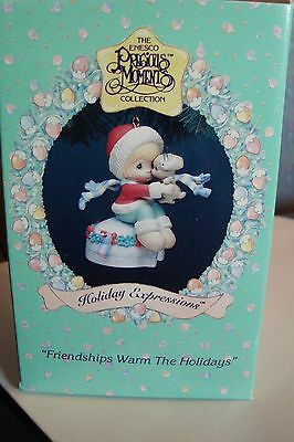 "Friendships Warm the Holidays 1994 Precious Moments Ornament 3"" x 2 1/2"""