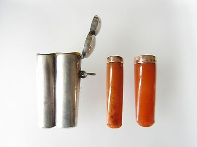 Gold Mounted Double Silver Cased Amber Cigar & Cigarette Holders Adolph Frankau