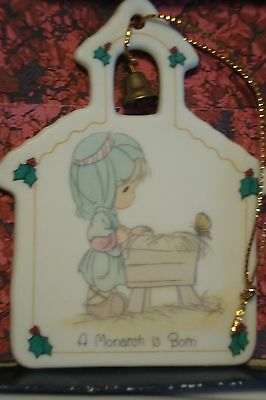 "A Monarch Is Born 1992 Precious Moments Ornament Flat Church 3""x4"" Manger"