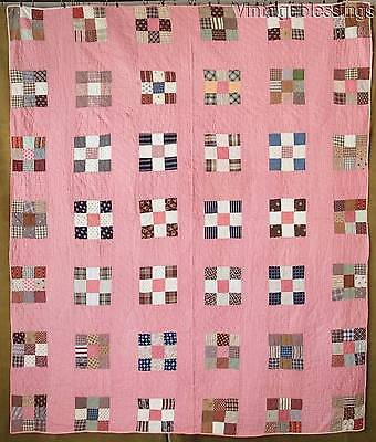 "ANTIQUE c1880 Double Pink Nine Patch QUILT 80"" x 68"""