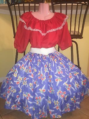 Square Dance 2 PC Ladies Red Top & Blue Tulip Skirt- Small