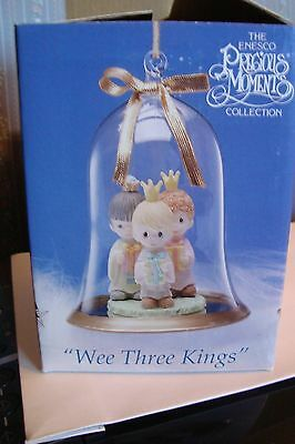 "Wee Three Kings Precious Moments Ornament Clear Glass Dome 1994 3 1/2"" x 4"""