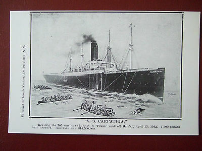 Titanic Postcard- Ss Carpathia Rescuing Survivors From The Titanic