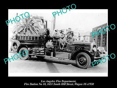 OLD LARGE HISTORIC PHOTO OF LOS ANGELES FIRE DEPARTMENT, STATION 10 TRUCK c1930