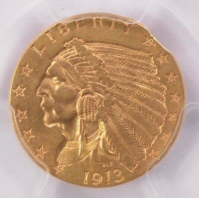 PCGS $2.5 1913 Indian Quarter Eagle 2% Curved Clipped MS-62