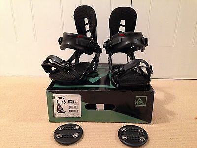 K2 Indy Snowboard Bindings, Large, Black, 2016