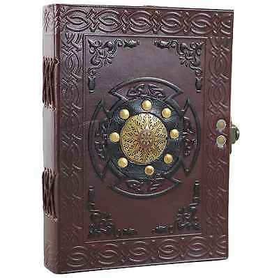 Metal Shield Leather Bound Journal Handmade Unlined Blank Notebook Sketchbook