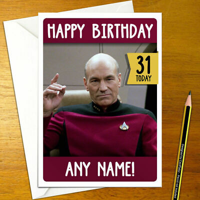 Star Trek Personalised Birthday Card A5 Generations Picard Spock