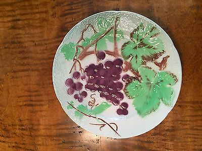 St. Clement France majolica fruit plates-- grape pattern