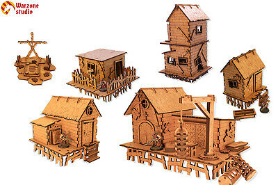 "Wargaming terrain: ""Swamp Village"" - 28mm (1:35) scenery for Age of Sigmar, LotR"