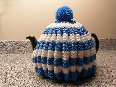 Tea Cosy New Hand Knitted Vintage Style Cornish Ware Style Blue and White