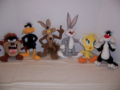"""6 Vintage TYCO 12"""" 1994 LOONEY TUNES FIGURES, Bugs Bunny, Wile E. Coyote & 4more"""