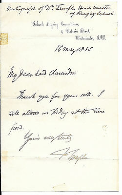 1865 signed letter Dr Temple Rugby School Archbishop of Canterbury