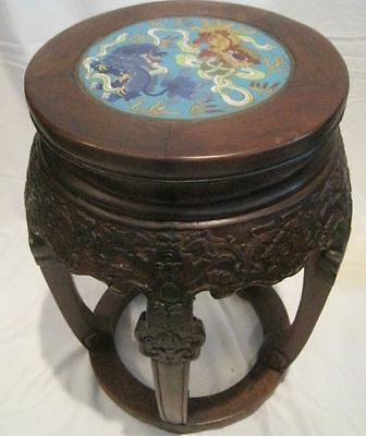Chinese Drum Stool, Cloisonne Top  Antique Handcarved Rosewood Stand
