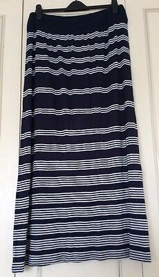 Fat Face Navy & White Striped Maxi Skirt size L