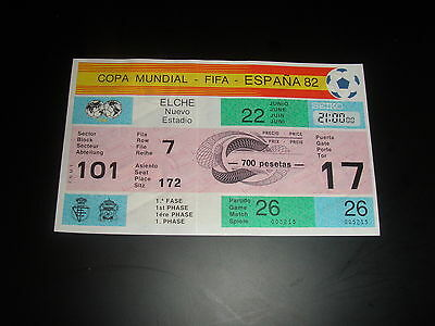 ORIGINAL ticket World Cup 1982 Game 26 BELGIUM v HUNGARY  UNUSED 1st Phase