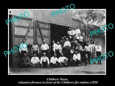 OLD LARGE HISTORIC PHOTO OF CHILDRESS TEXAS, FIREMAN & THE FIRE STATION c1920