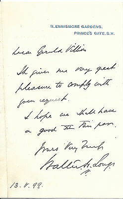 1899 signed letter Walter Hume Long Ulster Unionist Politician northern ireland