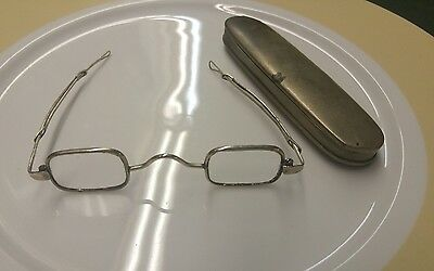 Antique Sliding Temples Adjustable Length w/ Loops Eyeglasses with Metal Holder